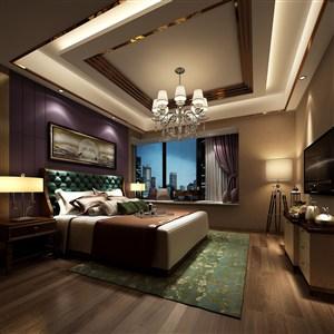 紫金主题欧式风格卧室效果图