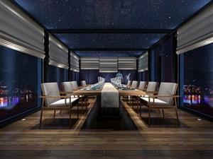 大型长条桌新中式餐厅装修效果图