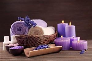 紫色薰衣草沐浴用品高清攝影圖