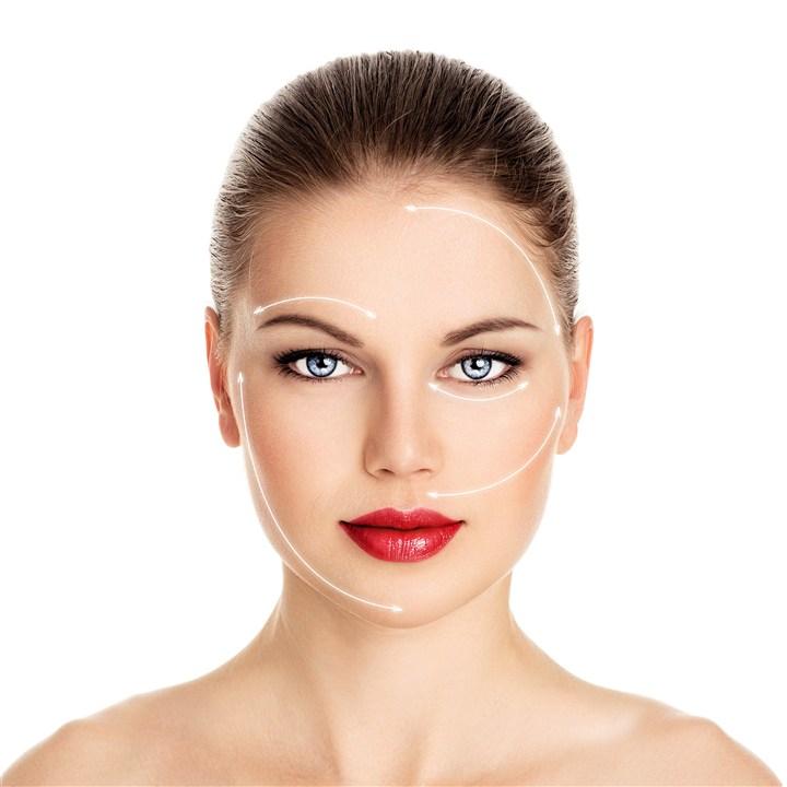 涂着红唇脸部画线整容美容图片