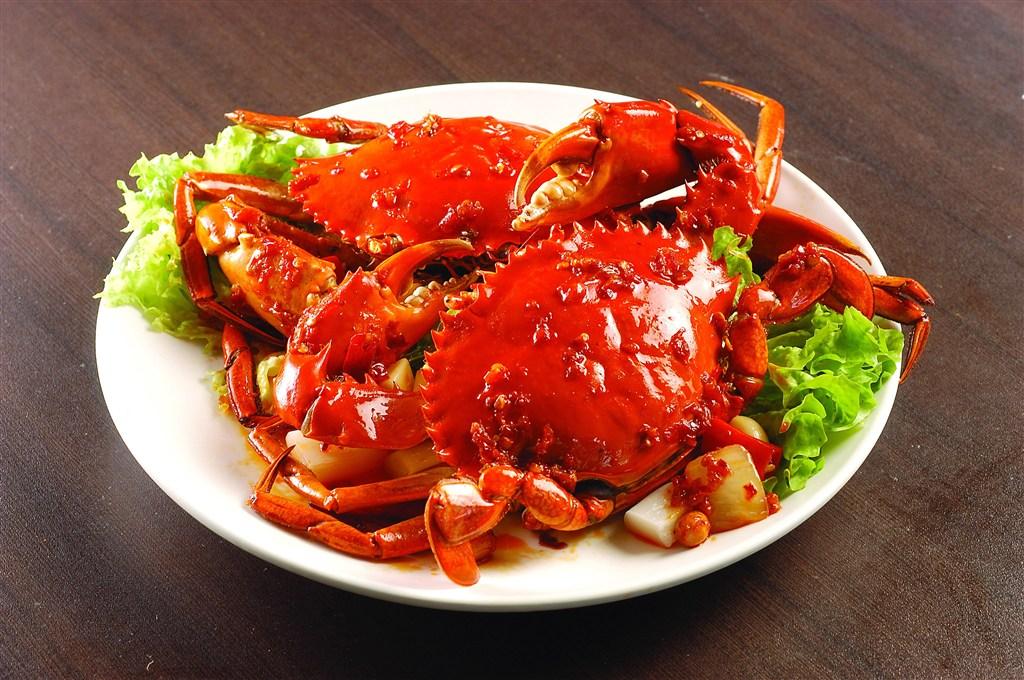 雙只大閘蟹美食海鮮圖片