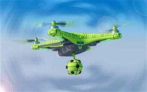 蓝色背景下的绿色无人机高清图