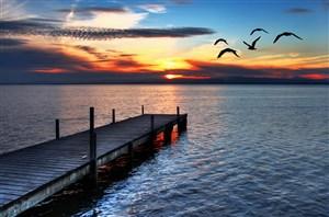唯美傍晚海邊棧橋風景圖片