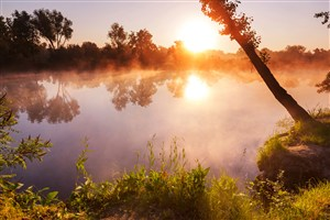 高清唯美落日山水风景图片