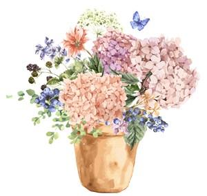 大绣球花蓝莓蝴蝶矢量盆栽浅色花卉大花花朵矢量素材