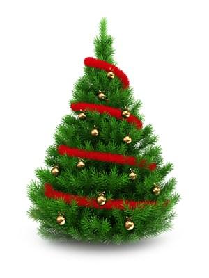 細紅色綢帶纏繞的圣誕樹高清圖