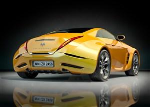 黄色玛莎拉蒂跑车高清摄影图片
