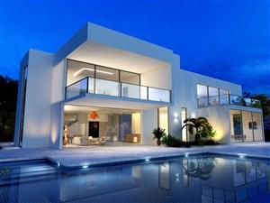 线条造型别墅游泳池高清摄影图