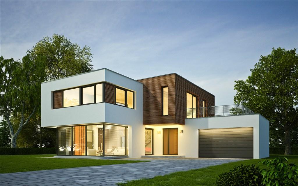 几何组合造型建筑物高清摄影图