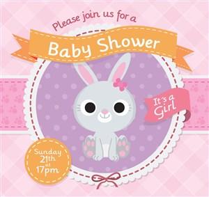 可愛兔子迎嬰派對邀請海報矢量圖