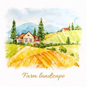 手繪水彩農場天空稻田風景矢量素材