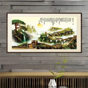 中式詩畫長城彩圖裝飾畫