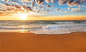 大氣唯美海邊沙灘海報背景高清