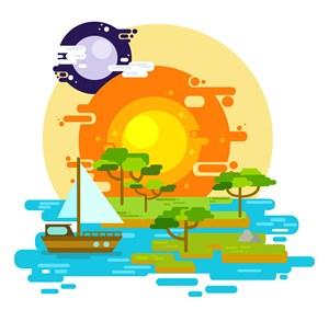 扁平化太陽與湖泊風景矢量素材