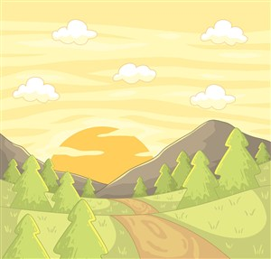 彩繪山區夕陽風景矢量素材