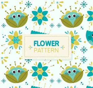 可愛花卉無縫背景矢量素材