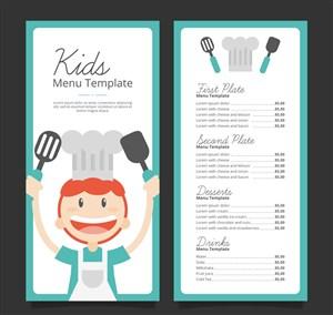 可愛廚師兒童菜單正反面矢量圖