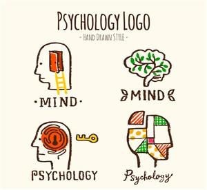 4款彩绘心理学标志矢量素材