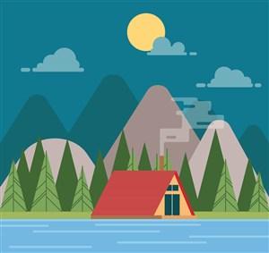 月夜河边野营帐篷风景矢量图