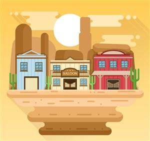 創意美國西部小鎮風景矢量圖