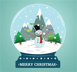 可爱雪人雪花玻璃球矢量素材