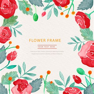 彩繪紅色玫瑰花朵花卉相框框架結婚伴手禮請柬邀請函請帖設計矢量素材