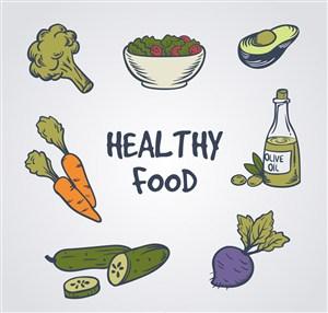 7款彩绘健康食物矢量素材胡萝卜黄瓜橄榄油牛油果西兰花