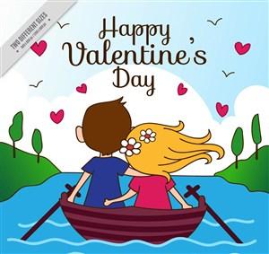 卡通情人节划船的情侣背影矢量素材
