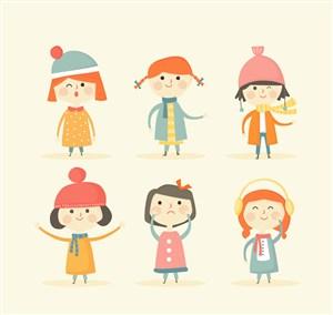 6款可愛冬季女孩矢量素材