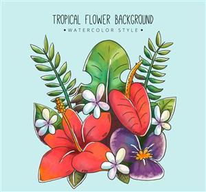 水彩绘热带花束矢量素材