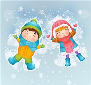 可愛雪地玩耍的男孩和女孩矢量圖