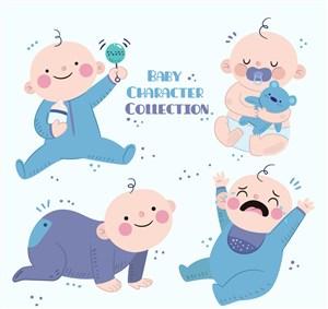 4款卡通男嬰設計矢量素材