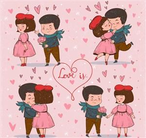 4款彩绘甜蜜情侣设计矢量素材