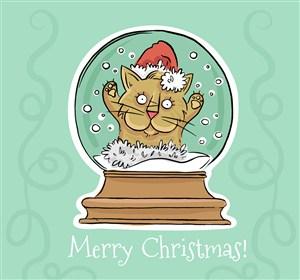 彩绘圣诞猫雪花玻璃球矢量图