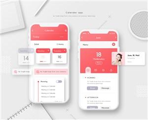 精美手机日历界面设计模板