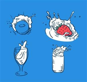 4款彩绘动感牛奶矢量素材