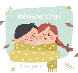 创意围一条围巾的情人节情侣矢量图