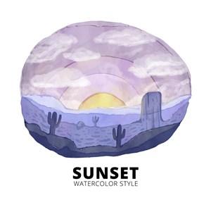 水彩繪沙漠日出風景矢量素材