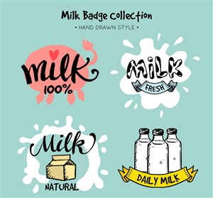 4款彩绘牛奶徽章矢量素材