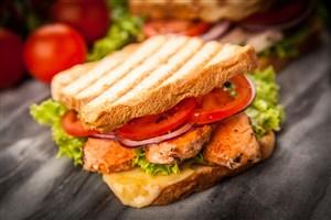 豐盛的三明治特寫高清攝影圖片