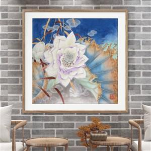 中式水墨蓮花裝飾畫