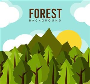 扁平化綠色森林風景矢量素材
