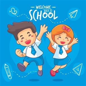 六一儿童节卡通儿童矢量欢快小孩小学生开学季蝴蝶结手绘铅笔三角板