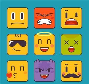 9款可爱方脸表情矢量素材