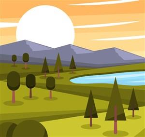 美丽夕阳山脉湖泊风景矢量素材