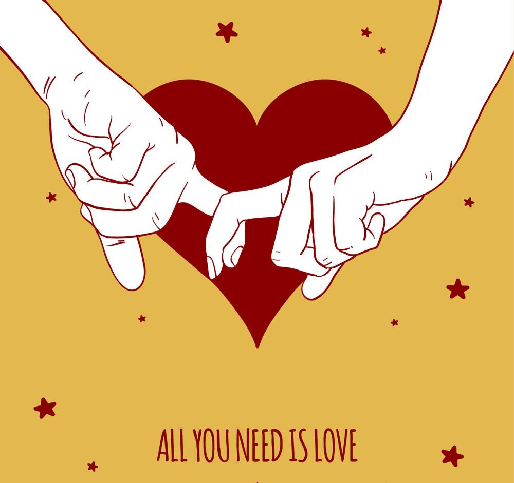 手繪拉著的雙手和愛心矢量圖