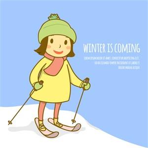 可爱滑雪的短发女孩矢量素材
