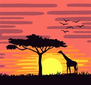 夕陽下的非洲面包樹和長頸鹿矢量素材