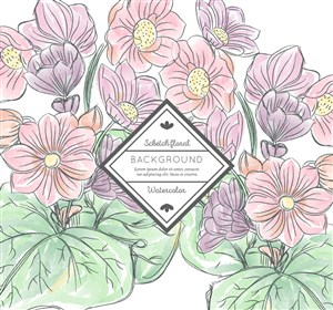 彩绘大朵花卉设计矢量素材