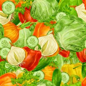 彩绘蔬菜无缝背景设计矢量素材